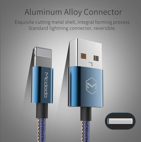 Picture of Mcdodo Denim Fabric Key Chain Lightning to USB Cable for iPhone Aluminum Alloy USB Connector Fast Charging Cable