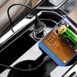 Dual USB Car Charger with 8 Pin Charging Cable