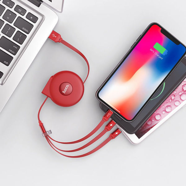 U50 3-in-1 retractable charging cable – red