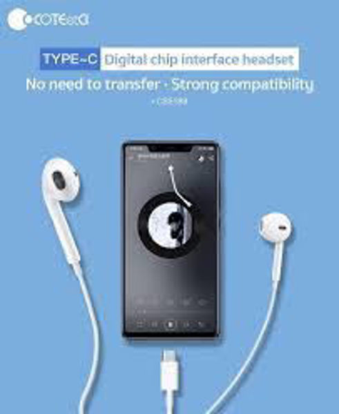 Picture of Type-C in-ear headphones for voice calls of COTEETCI CS5189 equipped with DIGITAL HIFI audio chip