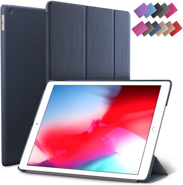 Picture of iPad Mini 5 case, ROARTZ Blue Slim Fit Smart Rubber Coated Folio Case Hard Cover Light-Weight Wake/Sleep for Apple iPad Mini 5th Generation 2019 Model A2133 A2124 A2126 7.9-inch Display